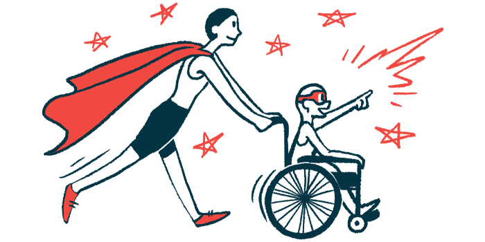 rare disease clinical trial participants | Prader Willi News | Illustration of woman in cape pushing child in wheelchair
